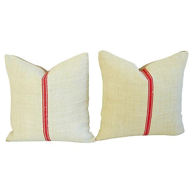 Vintage European Textile & Linen Pillows- A Pair - Image 4 of 6