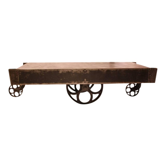 Antique American Industrial Steel Cart Coffee Table For Sale
