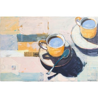 "1990s ""Two Yellow Cups"" Still Life Mixed-Media Painting by Richard Garrison For Sale"