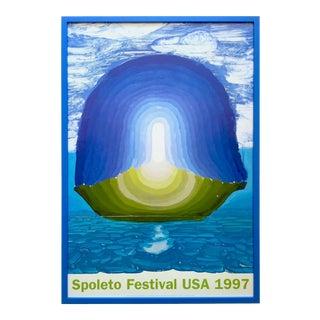 "David Hockney Rare Vintage 1997 Lithograph Print Framed Spoleto Festival Poster "" Orfeo Ed Euride "" 1994 For Sale"