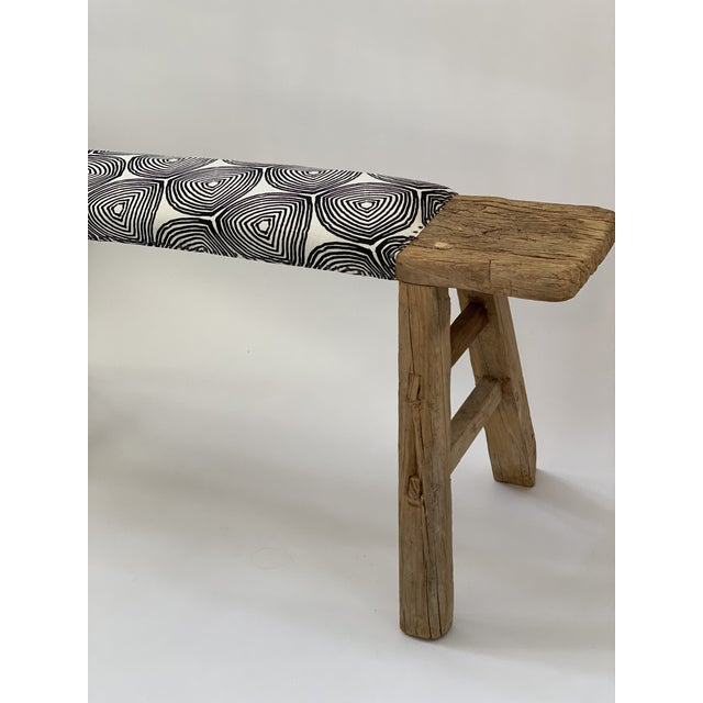 1970s Vintage Shandong Upholstered Bench For Sale In Los Angeles - Image 6 of 7