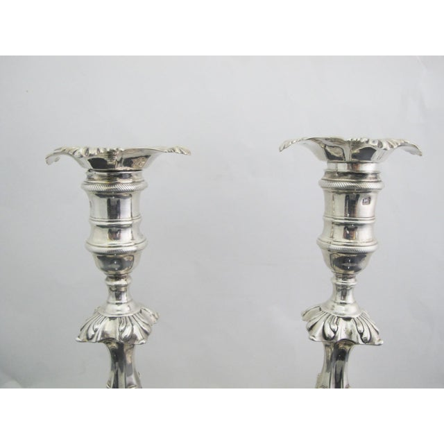 Antique George II Sterling Silver Candlestick John Cafe London 1752 - a Pair For Sale - Image 4 of 13