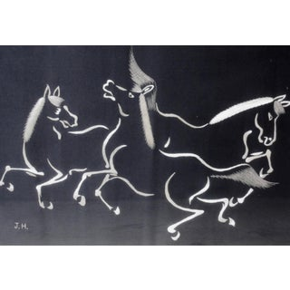 Vintage Black and White Trio of Dancing Horses Silk Textile Framed Preview