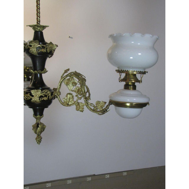 Mid 19th Century Victorian Oil Henry Hooper Three Light Chandelier For Sale - Image 5 of 8