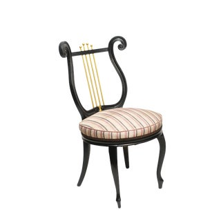 Ebonized Lyre Back Vanity Chair For Sale