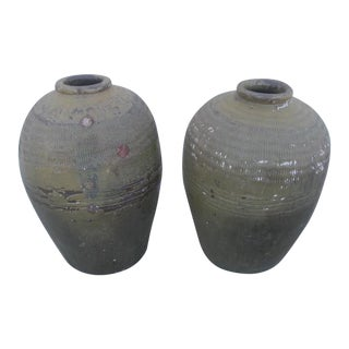 Antique Chinese Rice Wine Jugs - a Pair For Sale