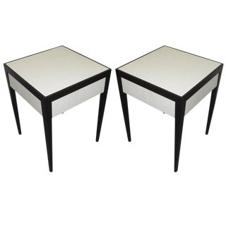Custom Parchment Ebonized End Tables With Central Drawer - a Pair For Sale