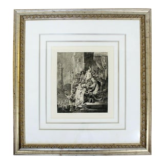 17th Century 17th Cent. Framed Rembrandt Style Durand Christ Before Pilate Etching For Sale