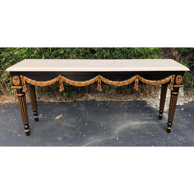 2010s Black & Gold Louis XVI Style Console Table by Charles Pollock for William Switzer For Sale - Image 5 of 5