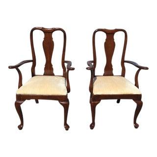 Kling Furniture Cherry Queen Anne Arm Chairs - a Pair For Sale