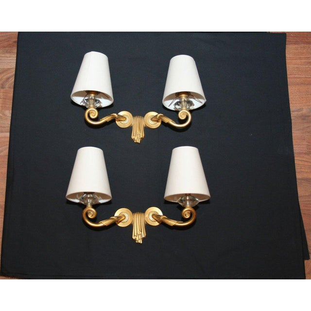 "Bronze Pair of ""Draperie"" Wall Sconces by Jules Leleu For Sale - Image 7 of 7"