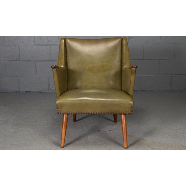 1950s Mid-Century Modern Green Teak Lounge Easy Chair For Sale - Image 4 of 9