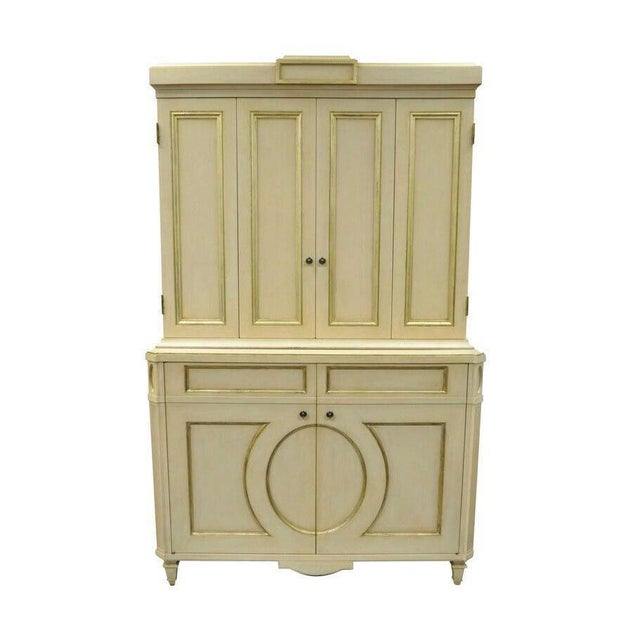 French Neoclassical Louis XVI Style Cream & Gold Painted Bar Cabinet by Decca A For Sale - Image 11 of 11