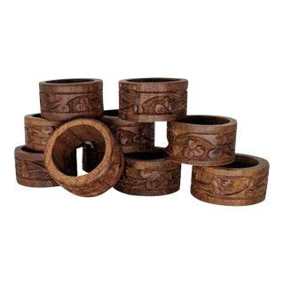 Vintage Hand-Carved Napkin Ring Holders - Set of 10 For Sale