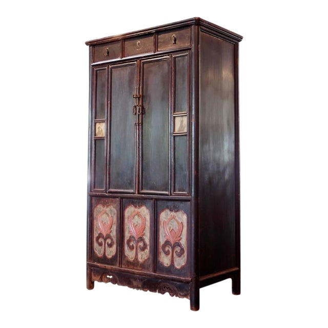 Chinese Lacquered Tall Cabinet Chest with Flower Panels and Dream Stones Inset For Sale