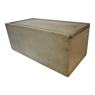 19th Century Original Grey Painted Large Candle Box from New England For Sale