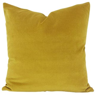 Saffron Yellow Velvet Pillow Cover For Sale