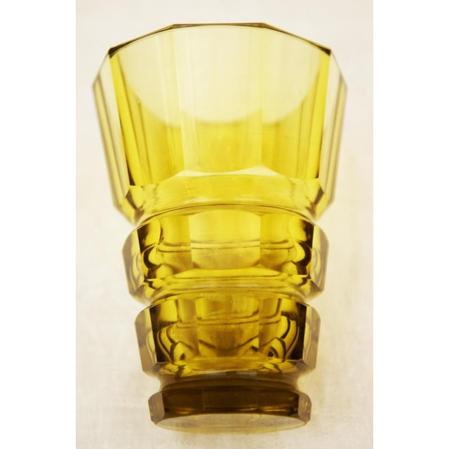Yellow Bohemian Art Deco crystal vase For Sale - Image 4 of 5