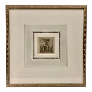 "Framed Letter ""S"" Engraved by L. Vanvitelli for King Carlos Iii, Italy, 1771 For Sale"