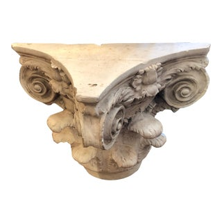 Neoclassical Cement Corinthian Column End Table For Sale