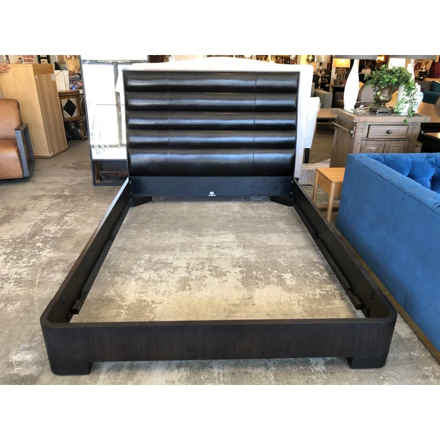 Wood Baker Tashmarine Queen Bed by Jean Lousi Deniot Black Leather and Mink Black Frame For Sale - Image 7 of 7