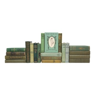 Mid Century Teal and Forest Green - Set of 20 Decorative Books For Sale