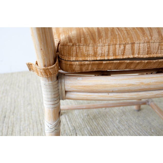 Tan McGuire Cerused Rattan Dining Chairs- Set of 9 For Sale - Image 8 of 13