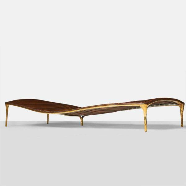 Valentin Loellmann Daybed in Brass and Walnut by Valentin Loellmann For Sale - Image 4 of 9