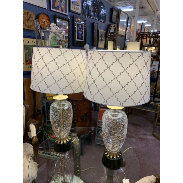 1960s Hollywood Regency Crackled Glass Lamps and Shades - a Pair For Sale - Image 10 of 11