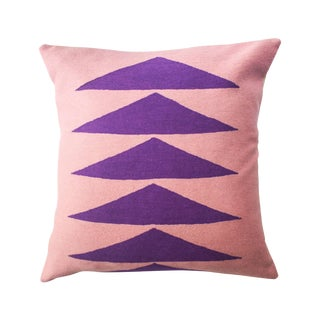 Tropical Palm Springs Purple Hand Embroidered Modern Throw Pillow For Sale