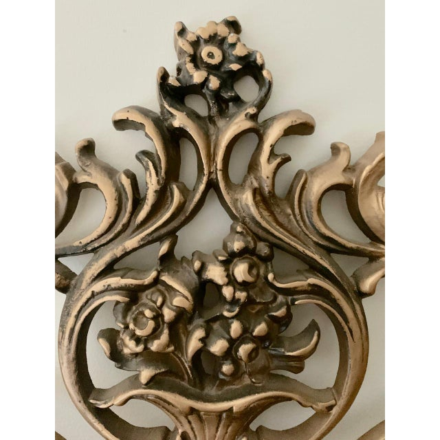 Metal Vintage Gold Iron Twin Headboards With Floral Motif - a Pair For Sale - Image 7 of 11