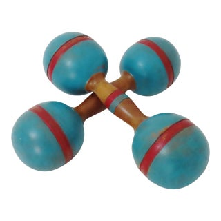 Nicely Painted Set of Antique Wooden Dumbbells a Pair For Sale