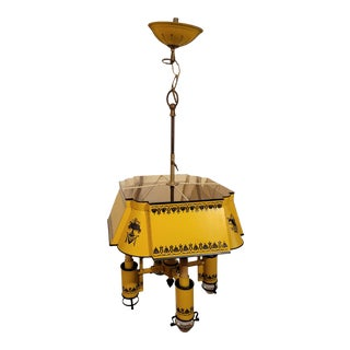 Vintage Early 20th Century French Design Yellow Tole Chandelier For Sale