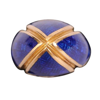 Signed 18k Gold and Blue Enamel Dome Ring For Sale