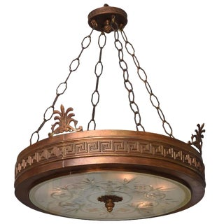 Neoclassical Art Deco Chandelier in Bronze, Frosted and Cut Glass For Sale