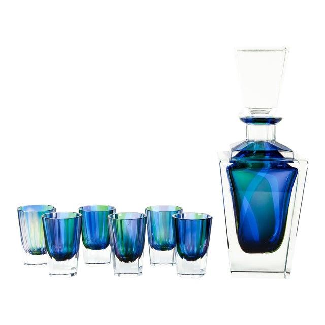 Mid 20th Century Cut Crystal Liqueur Decanter Set - Set of 7 For Sale