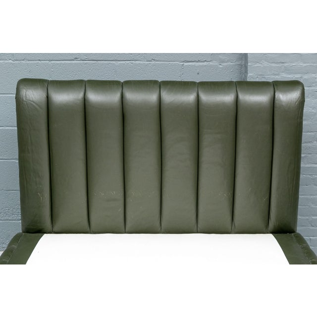 Army Green Contemporary Avery Boardman Queen Size Leather Platform Bedframe For Sale - Image 8 of 11