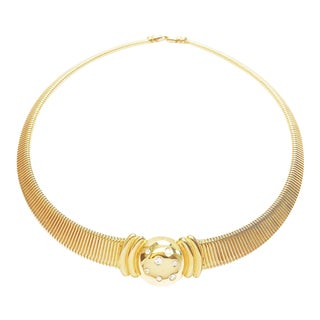 Modernist Statement Choker With Domed Center Encrusted With Crystals by Courrèges For Sale