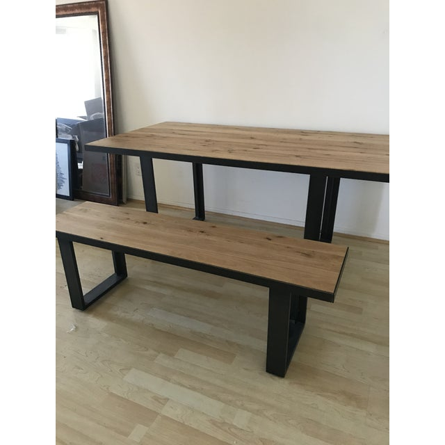 Mid Century Modern West Elm Dining Table With Bench 2 Pieces