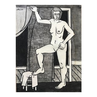 """Original 1940s Charcoal Figurative Drawing """"Foot on Stool"""" For Sale"""