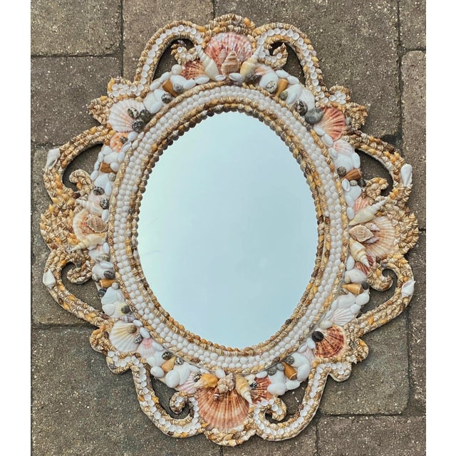 Hollywood Regency Style Shell Encrusted Mirror For Sale - Image 13 of 13