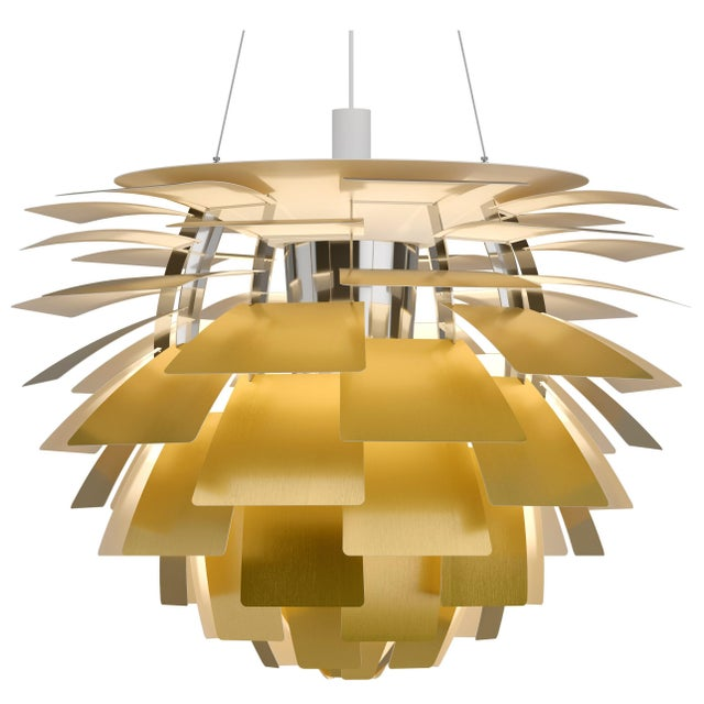 Yellow Monumental Poul Henningsen Brass PH Artichoke Chandelier for Louis Poulsen For Sale - Image 8 of 8