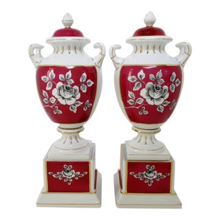 Porcelain Urns, a Pair For Sale