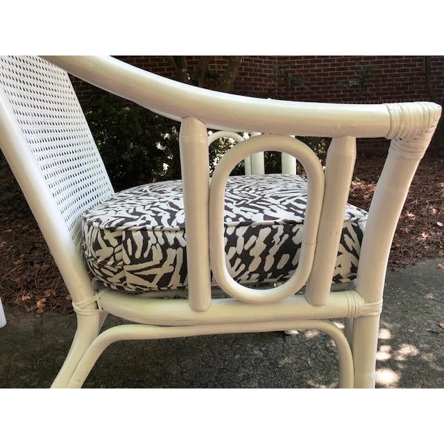 Mid-Century Modern Vintage Mid Century White Rattan Arm Chairs- A Pair For Sale - Image 3 of 12