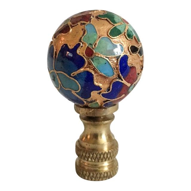 Vintage Cloisonne Floral Lamp Finial - Image 1 of 6