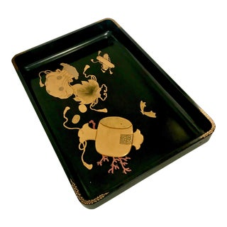 19th Century Meiji Japanese Black Lacquer and Gold Leaf Wood Tray For Sale