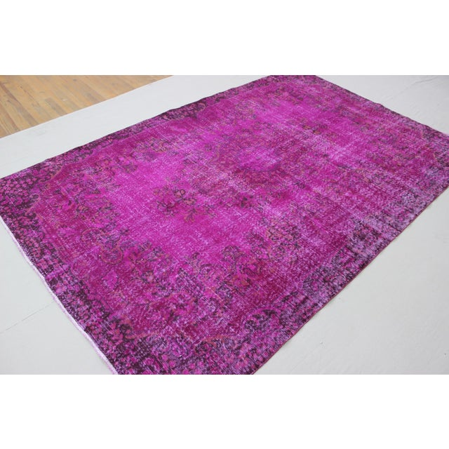 """6'4"""" X 10' Turkish Pink Overdyed Rug For Sale - Image 9 of 10"""
