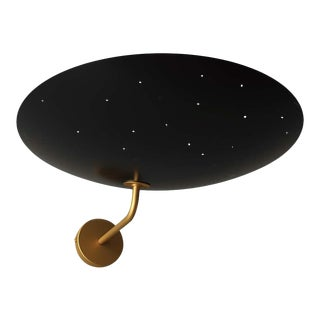 Pierre Disderot Model #2059 Large Perforated Wall Lamp in Black & Brushed Brass For Sale