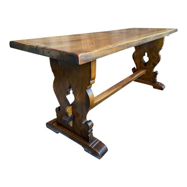Northern Italian 19th Century Walnut Trestle Table For Sale