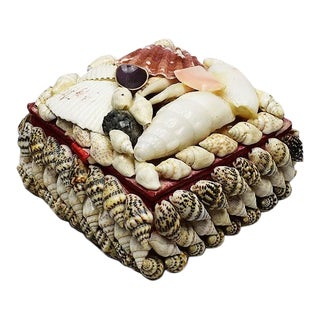 Small Square Seashell Encrusted Trinket Box For Sale